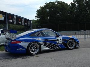 Rob's Porsche Cup car on the grid at Road America.